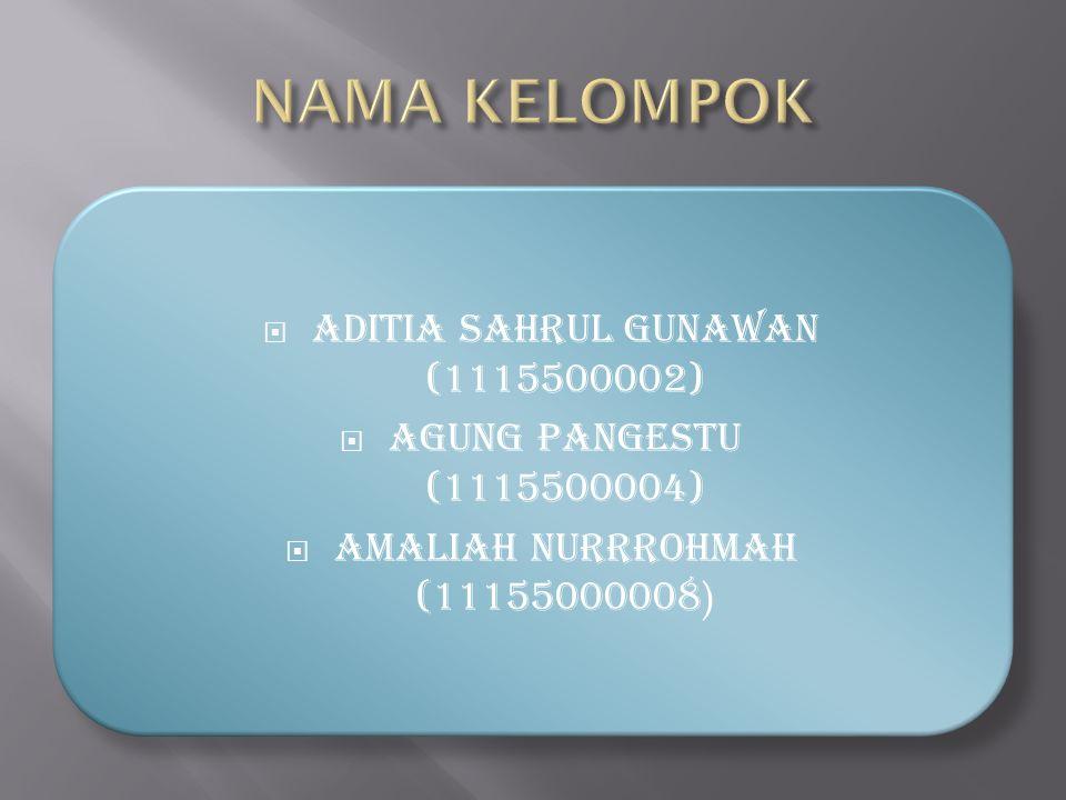  ADITIA SAHRUL GUNAWAN (1115500002)  AGUNG PANGESTU (1115500004)  AMALIAH NURRROHMAH (11155000008 )
