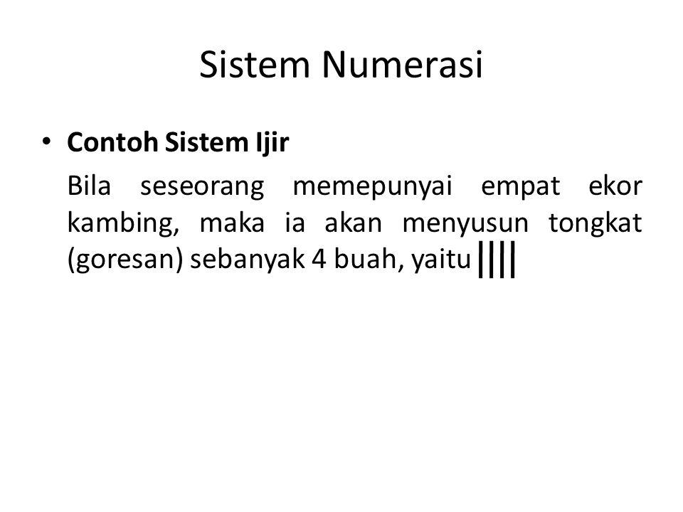 Sistem Numerasi Sistem numerasi Mesir Purba Tulisan Mesir Kuno ini berkembang dari sistem ijir yang dikelompokkan sepuluh- sepuluh menjadi bilangan dengan dasar sepuluh.