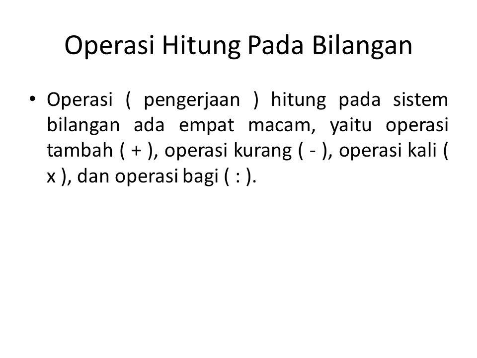 Operasi Hitung Pada Bilangan Operasi Uner Operasi uner atau operasi monar adalah operasi yang berkenaan dengan sebuah unsur.