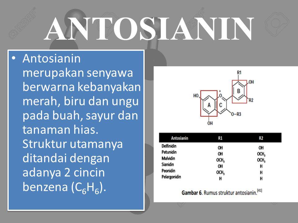 ANTOSIANIN Antosianin merupakan senyawa berwarna kebanyakan merah, biru dan ungu pada buah, sayur dan tanaman hias.