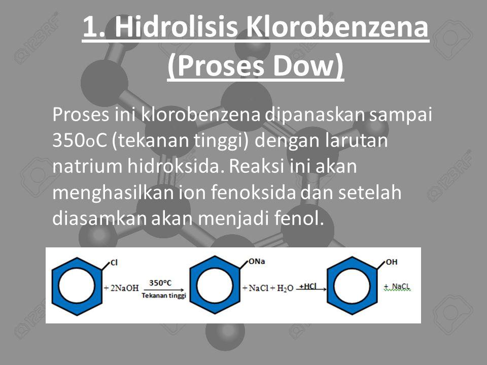 1. Hidrolisis Klorobenzena (Proses Dow) Proses ini klorobenzena dipanaskan sampai 350 o C (tekanan tinggi) dengan larutan natrium hidroksida. Reaksi i
