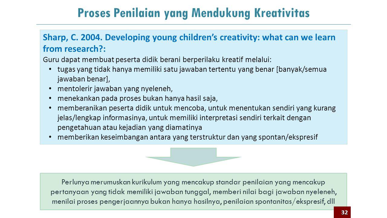 31 Proses Pembelajaran yang Mendukung Kreativitas Dyers, J.H. et al [2011], Innovators DNA, Harvard Bus. Review: 2/3 dari kemampuan kreativitas seseor