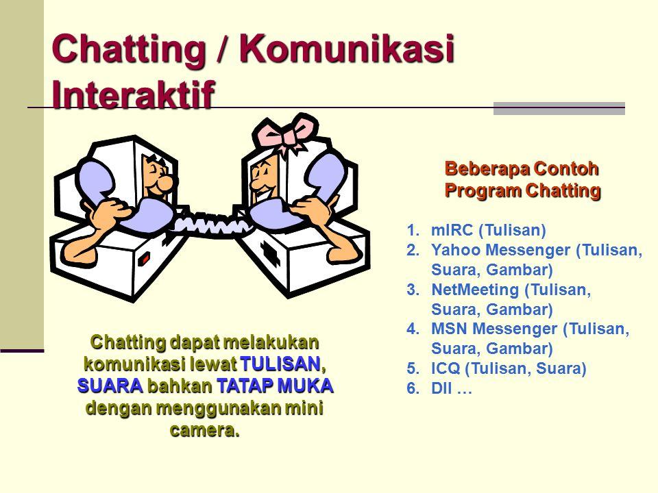 Chatting / Komunikasi Interaktif internet Si Pengirim mengetikkan sesuatu misal hallo hallo h a l l o