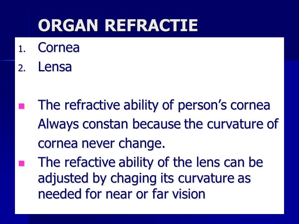ORGAN REFRACTIE 1. Cornea 2. Lensa The refractive ability of person's cornea The refractive ability of person's cornea Always constan because the curv