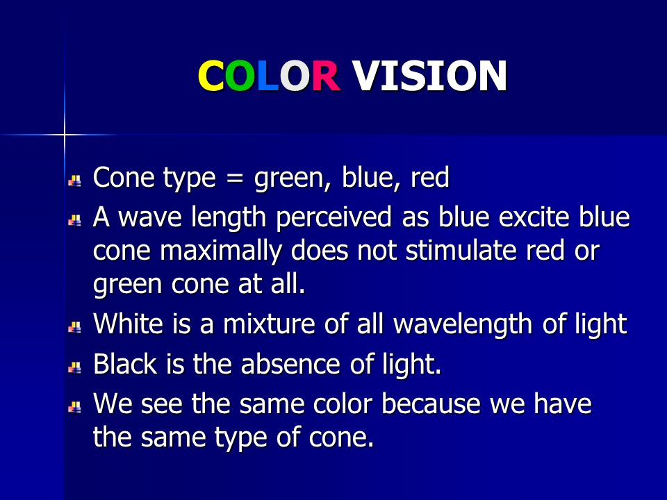 COLOR VISION Cone type = green, blue, red A wave length perceived as blue excite blue cone maximally does not stimulate red or green cone at all. Whit