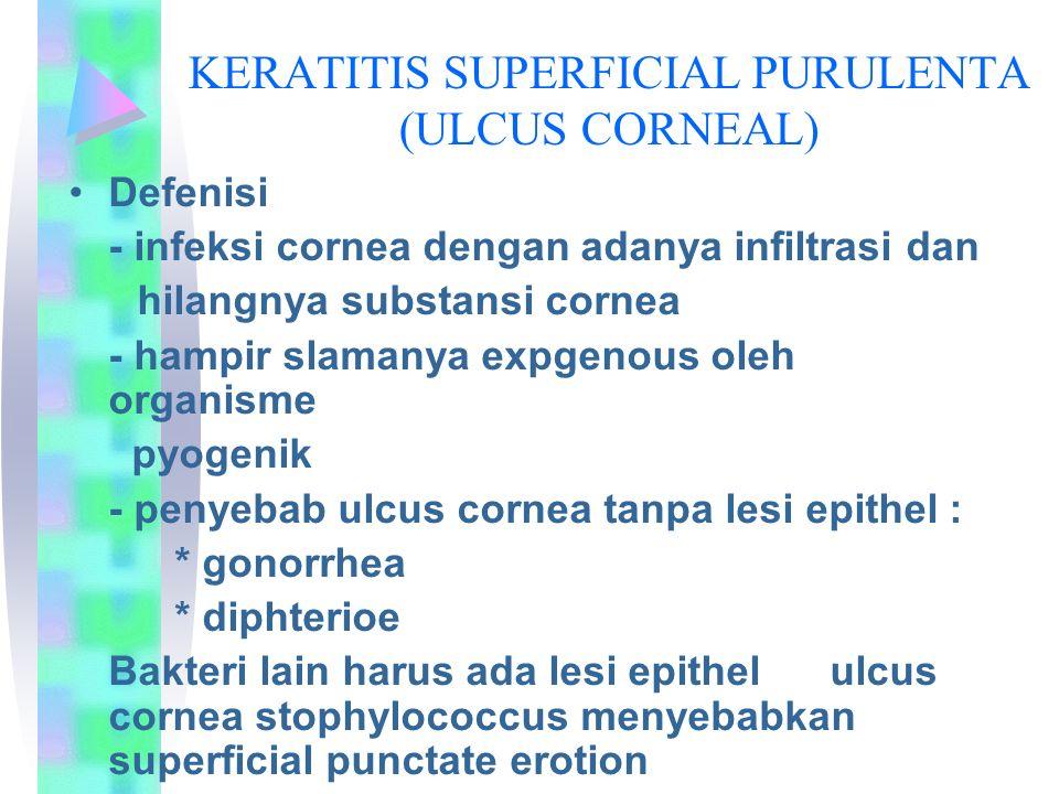 KERATITIS SUPERFICIAL PURULENTA (ULCUS CORNEAL) Defenisi - infeksi cornea dengan adanya infiltrasi dan hilangnya substansi cornea - hampir slamanya expgenous oleh organisme pyogenik - penyebab ulcus cornea tanpa lesi epithel : * gonorrhea * diphterioe Bakteri lain harus ada lesi epithel ulcus cornea stophylococcus menyebabkan superficial punctate erotion