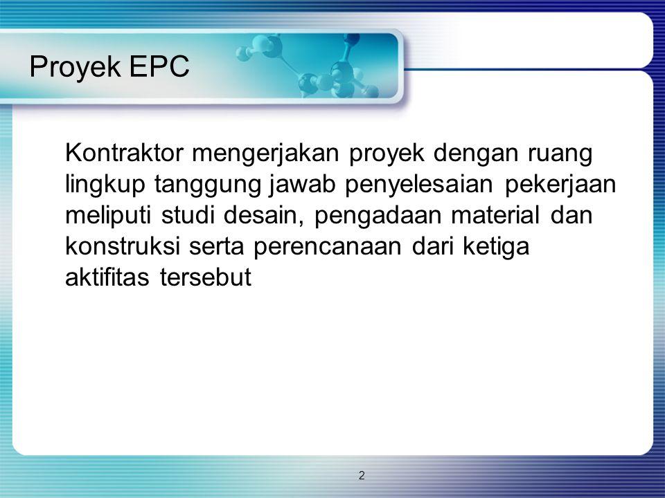 2 Proyek EPC Kontraktor mengerjakan proyek dengan ruang lingkup tanggung jawab penyelesaian pekerjaan meliputi studi desain, pengadaan material dan ko