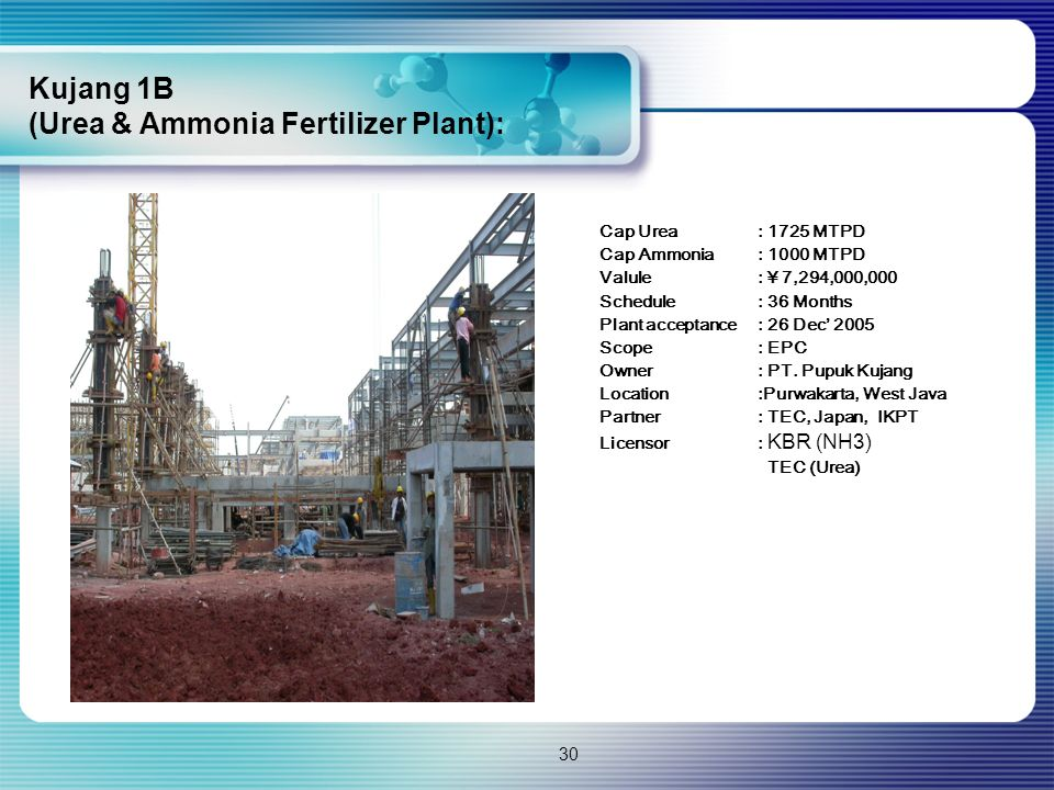 30 Cap Urea: 1725 MTPD Cap Ammonia: 1000 MTPD Valule: ¥ 7,294,000,000 Schedule: 36 Months Plant acceptance: 26 Dec' 2005 Scope: EPC Owner: PT. Pupuk K