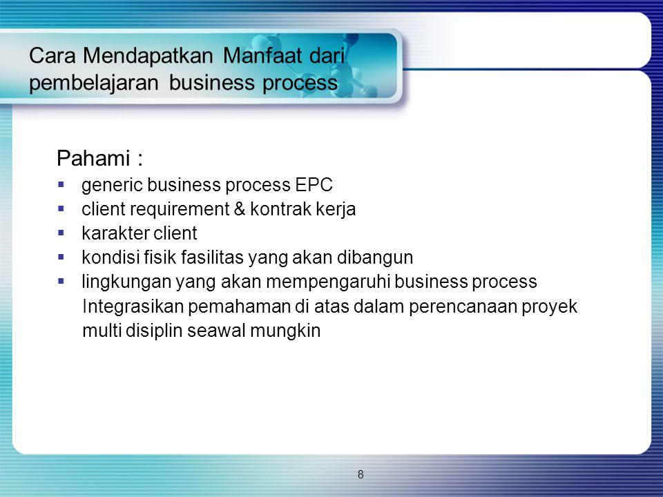 8 Cara Mendapatkan Manfaat dari pembelajaran business process Pahami :  generic business process EPC  client requirement & kontrak kerja  karakter