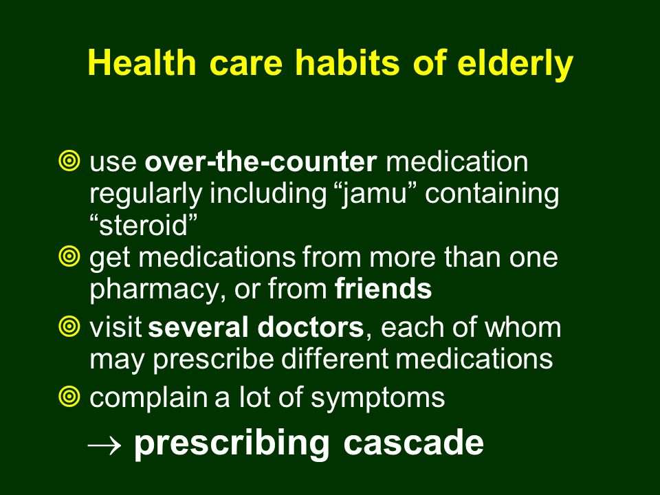 getting older concomitance diseases - Cardiovascular (CHD, CHF) - Degenerative (OA) - Metabolic (DM), etc polypharmacy - ACE-inhibitor - NSAID - OAD, etc drug interaction ADRs.........