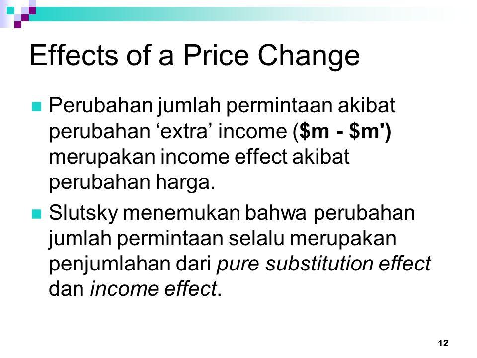 12 Effects of a Price Change Perubahan jumlah permintaan akibat perubahan 'extra' income ($m - $m') merupakan income effect akibat perubahan harga. Sl