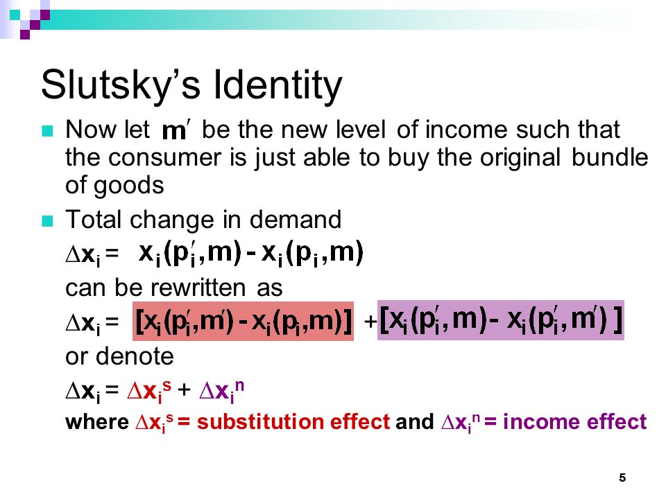 26 Total Effect The change in demand due to lower p 1 is the sum of the income and substitution effects,  x2x2 x1x1 (, )