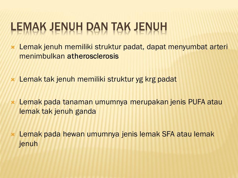  Lemak jenuh memiliki struktur padat, dapat menyumbat arteri menimbulkan atherosclerosis  Lemak tak jenuh memiliki struktur yg krg padat  Lemak pada tanaman umumnya merupakan jenis PUFA atau lemak tak jenuh ganda  Lemak pada hewan umumnya jenis lemak SFA atau lemak jenuh