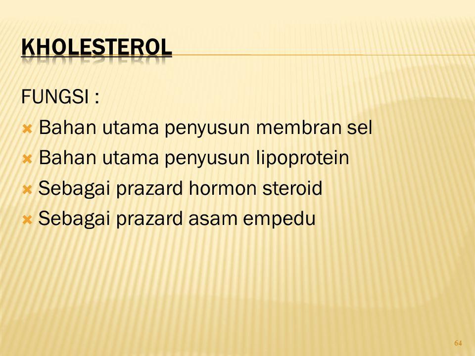 64 FUNGSI :  Bahan utama penyusun membran sel  Bahan utama penyusun lipoprotein  Sebagai prazard hormon steroid  Sebagai prazard asam empedu