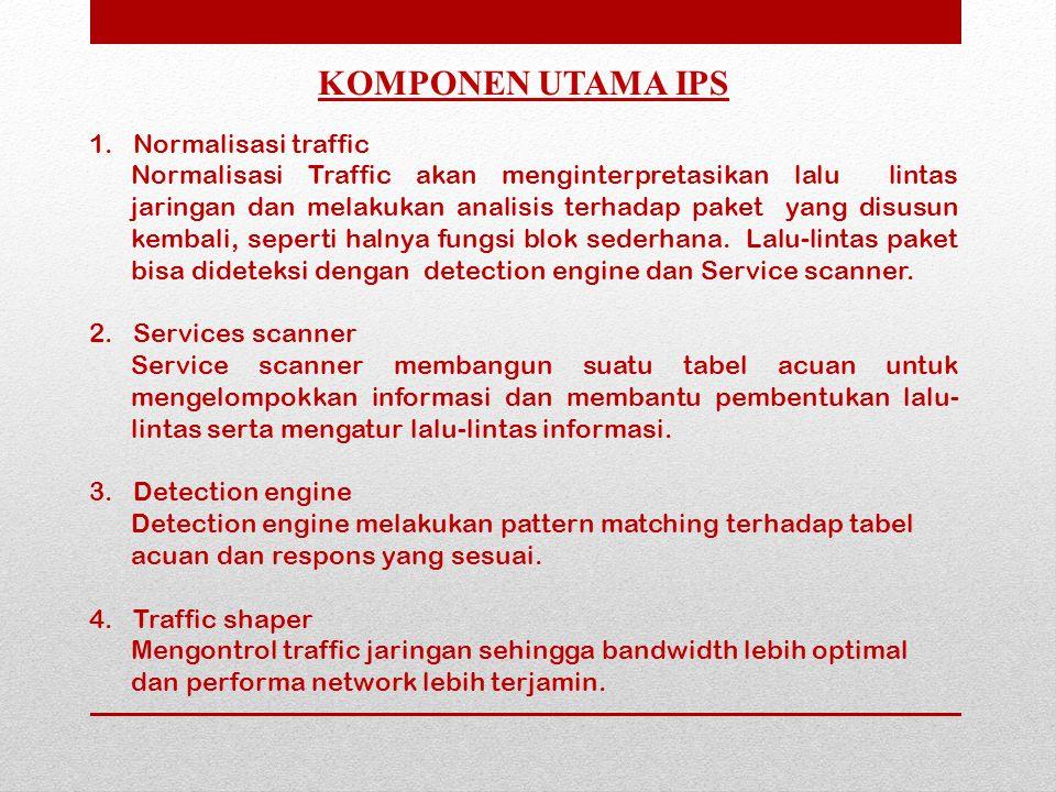 1. Normalisasi traffic Normalisasi Traffic akan menginterpretasikan lalu lintas jaringan dan melakukan analisis terhadap paket yang disusun kembali, s