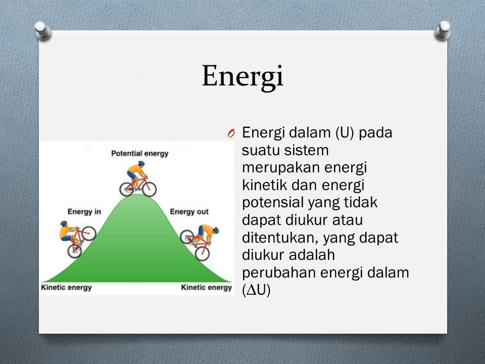 Energi O Energi dalam (U) pada suatu sistem merupakan energi kinetik dan energi potensial yang tidak dapat diukur atau ditentukan, yang dapat diukur adalah perubahan energi dalam (∆U)