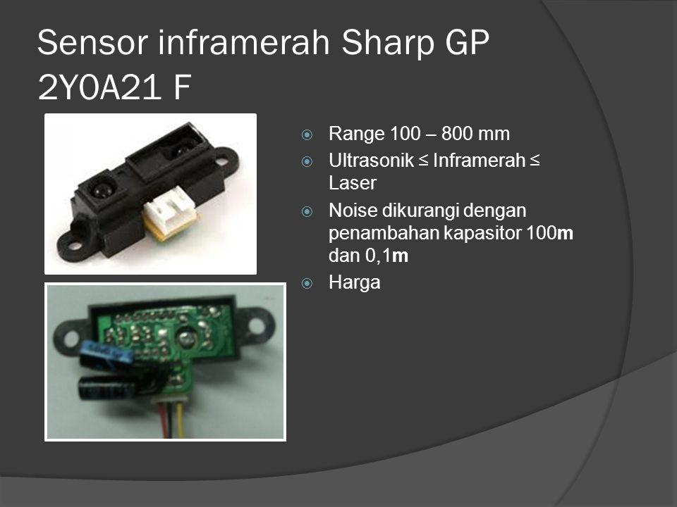 Sensor inframerah Sharp GP 2Y0A21 F  Range 100 – 800 mm  Ultrasonik ≤ Inframerah ≤ Laser  Noise dikurangi dengan penambahan kapasitor 100m dan 0,1m  Harga