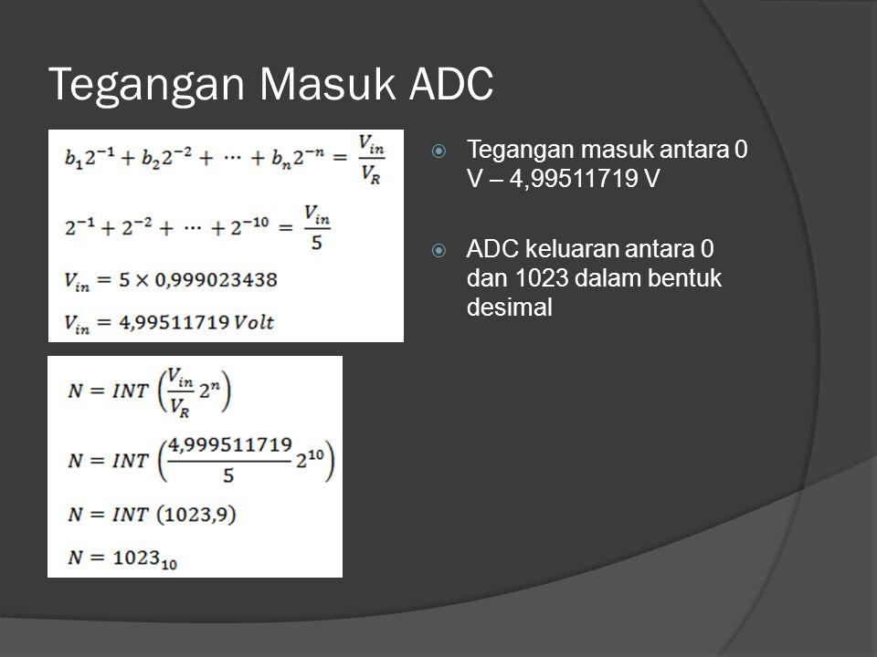 Tegangan Masuk ADC  Tegangan masuk antara 0 V – 4,99511719 V  ADC keluaran antara 0 dan 1023 dalam bentuk desimal