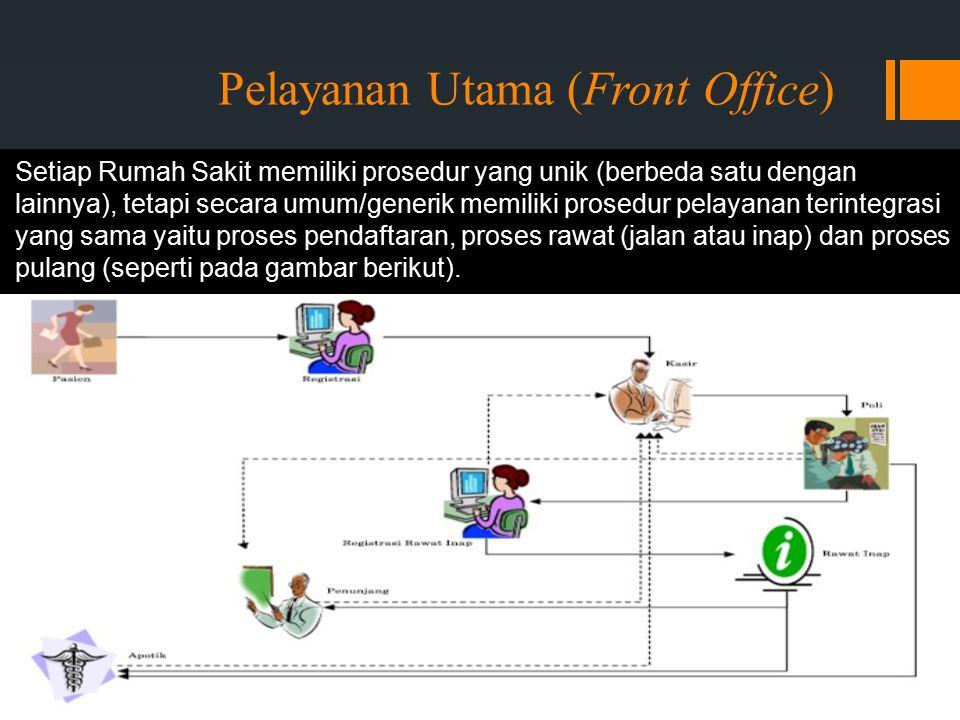 Pelayanan Utama (Front Office) Setiap Rumah Sakit memiliki prosedur yang unik (berbeda satu dengan lainnya), tetapi secara umum/generik memiliki prosedur pelayanan terintegrasi yang sama yaitu proses pendaftaran, proses rawat (jalan atau inap) dan proses pulang (seperti pada gambar berikut).