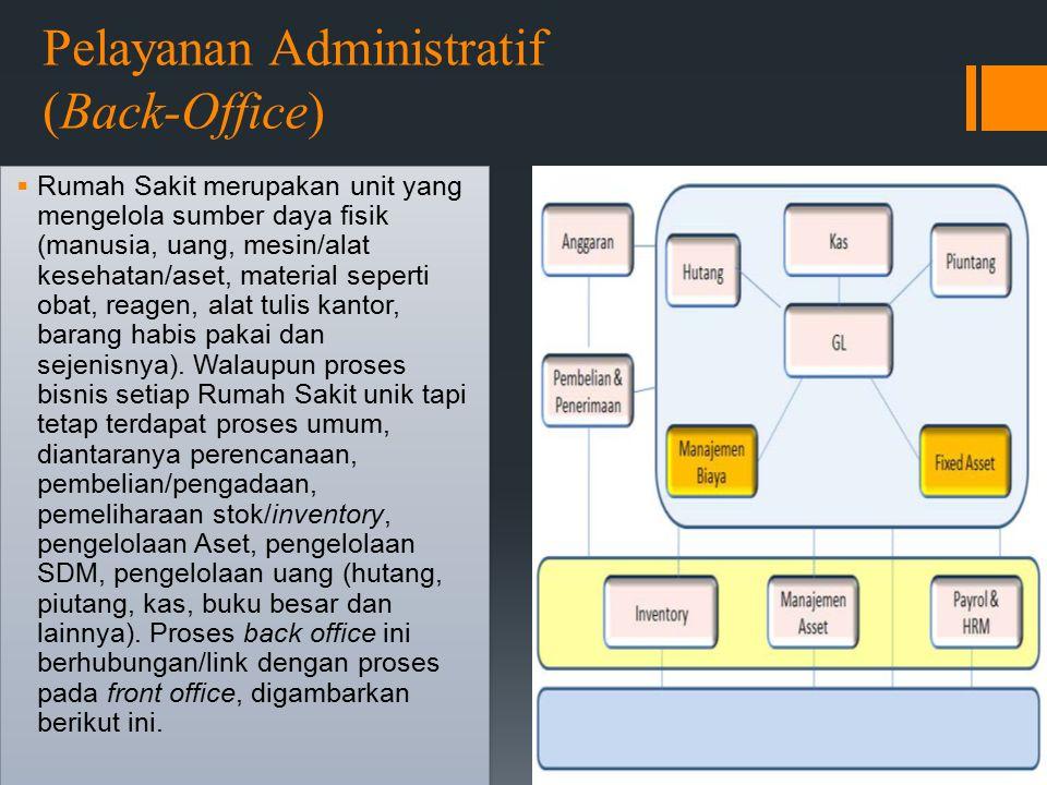 Pelayanan Administratif (Back-Office)  Rumah Sakit merupakan unit yang mengelola sumber daya fisik (manusia, uang, mesin/alat kesehatan/aset, material seperti obat, reagen, alat tulis kantor, barang habis pakai dan sejenisnya).