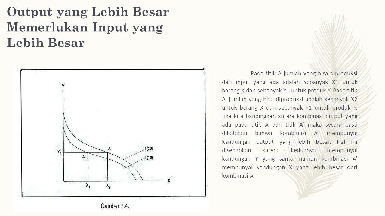 Output yang Lebih Besar Memerlukan Input yang Lebih Besar Pada titik A jumlah yang bisa diproduksi dari input yang ada adalah sebanyak X1 untuk barang X dan sebanyak Y1 untuk produk Y.