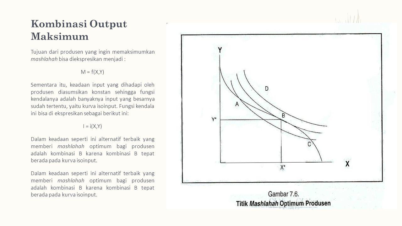 Kombinasi Output Maksimum Tujuan dari produsen yang ingin memaksimumkan mashlahah bisa diekspresikan menjadi : M = f(X,Y) Sementara itu, keadaan input yang dihadapi oleh produsen diasumsikan konstan sehingga fungsi kendalanya adalah banyaknya input yang besarnya sudah tertentu, yaitu kurva isoinput.