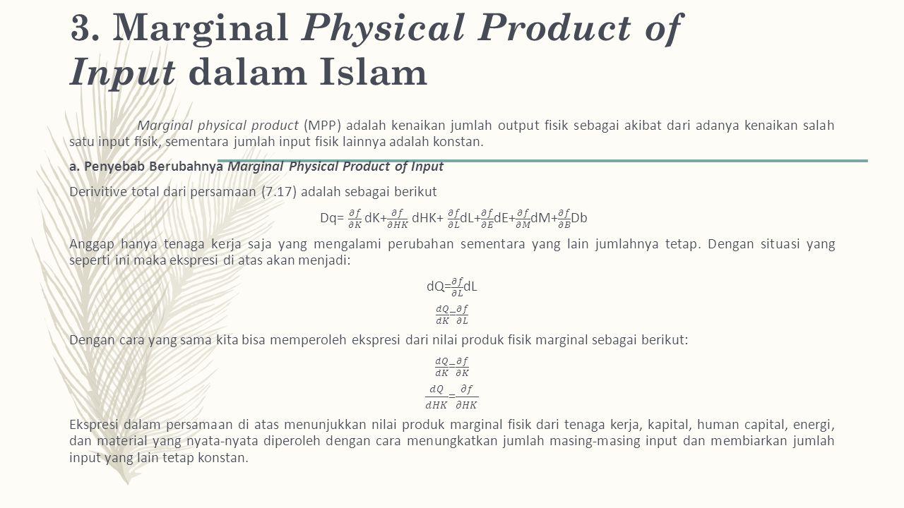 3. Marginal Physical Product of Input dalam Islam