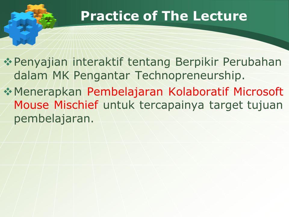 Practice of The Lecture  Penyajian interaktif tentang Berpikir Perubahan dalam MK Pengantar Technopreneurship.