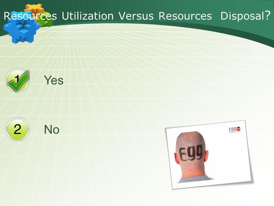 Yes No Resources Utilization Versus Resources Disposal