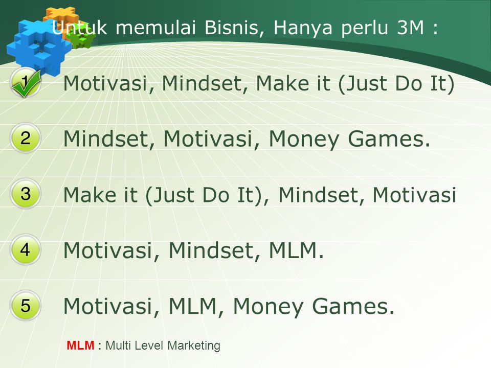 Untuk memulai Bisnis, Hanya perlu 3M : Motivasi, Mindset, Make it (Just Do It) Mindset, Motivasi, Money Games.