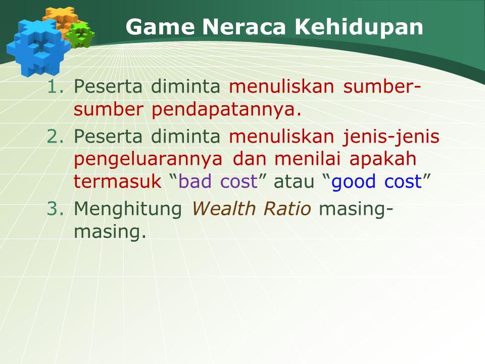 Game Neraca Kehidupan 1.Peserta diminta menuliskan sumber- sumber pendapatannya.