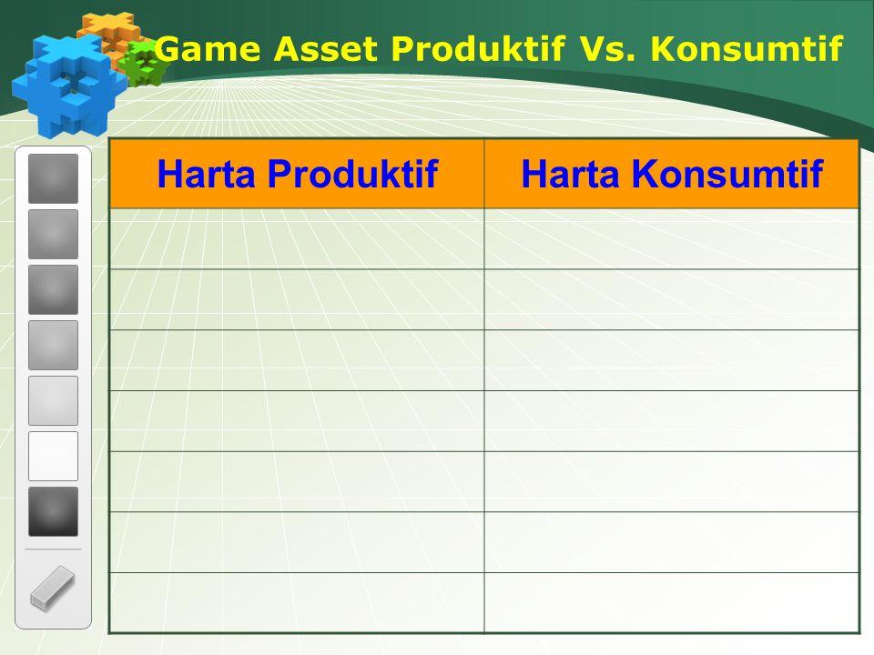 Harta ProduktifHarta Konsumtif Game Asset Produktif Vs. Konsumtif
