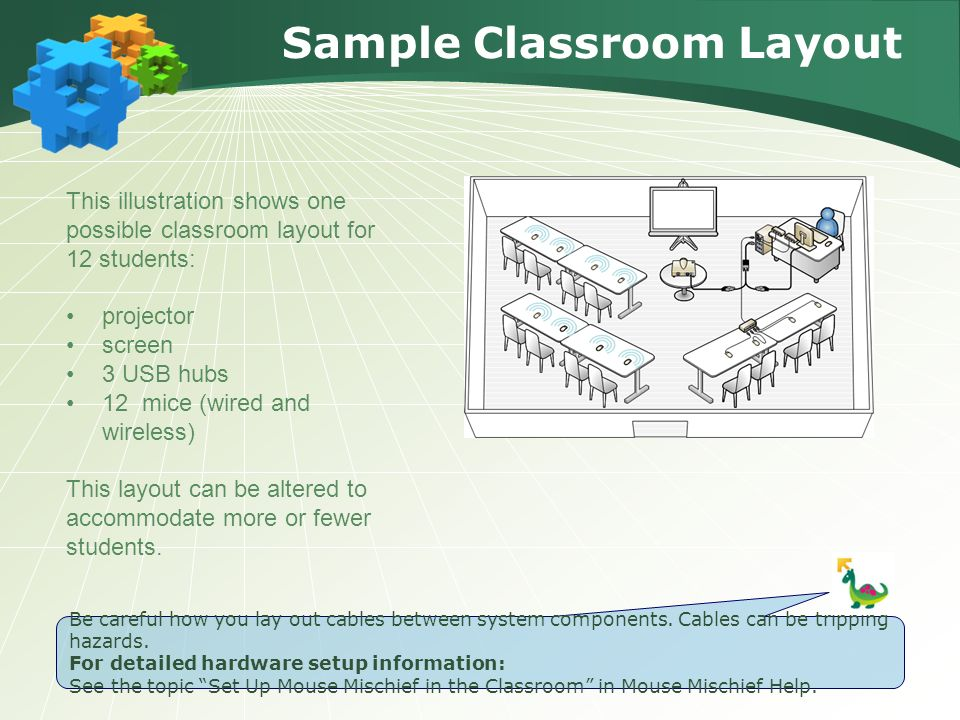 Sample Classroom Layout This illustration shows one possible classroom layout for 12 students: projector screen 3 USB hubs 12 mice (wired and wireless) This layout can be altered to accommodate more or fewer students.