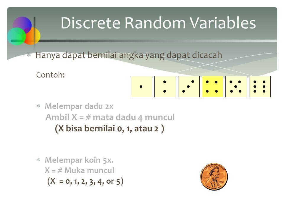 Binomial Characteristics n = 5 P = 0.1 n = 5 P = 0.5 Mean 0.2.4.6 012345 x P(x).2.4.6 012345 x P(x) 0 Examples