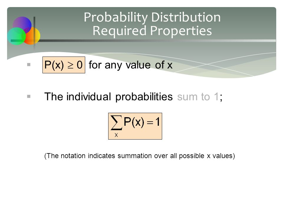  P(x)  0 for any value of x  The individual probabilities sum to 1; (The notation indicates summation over all possible x values) Probability Distribution Required Properties