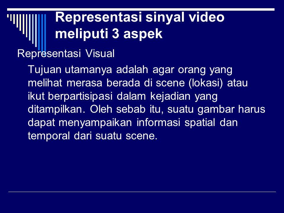 Representasi sinyal video meliputi 3 aspek Representasi Visual Tujuan utamanya adalah agar orang yang melihat merasa berada di scene (lokasi) atau ikut berpartisipasi dalam kejadian yang ditampilkan.