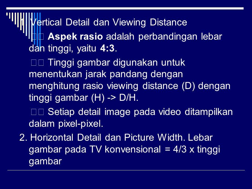1. Vertical Detail dan Viewing Distance Aspek rasio adalah perbandingan lebar dan tinggi, yaitu 4:3. Tinggi gambar digunakan untuk menentukan jarak pa