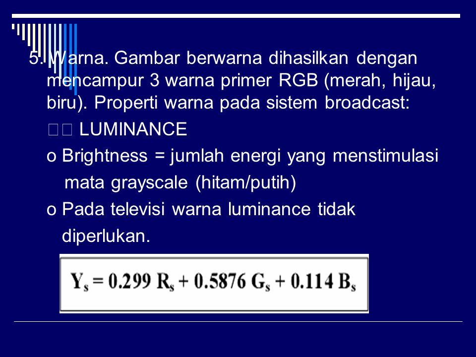 5. Warna. Gambar berwarna dihasilkan dengan mencampur 3 warna primer RGB (merah, hijau, biru). Properti warna pada sistem broadcast: LUMINANCE o Brigh