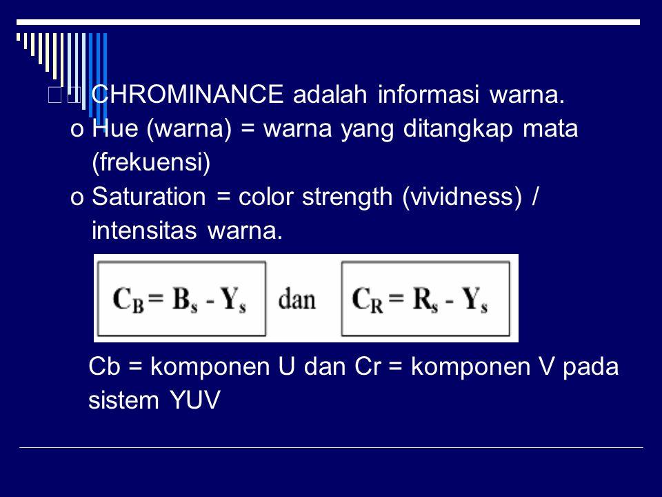 CHROMINANCE adalah informasi warna. o Hue (warna) = warna yang ditangkap mata (frekuensi) o Saturation = color strength (vividness) / intensitas warna