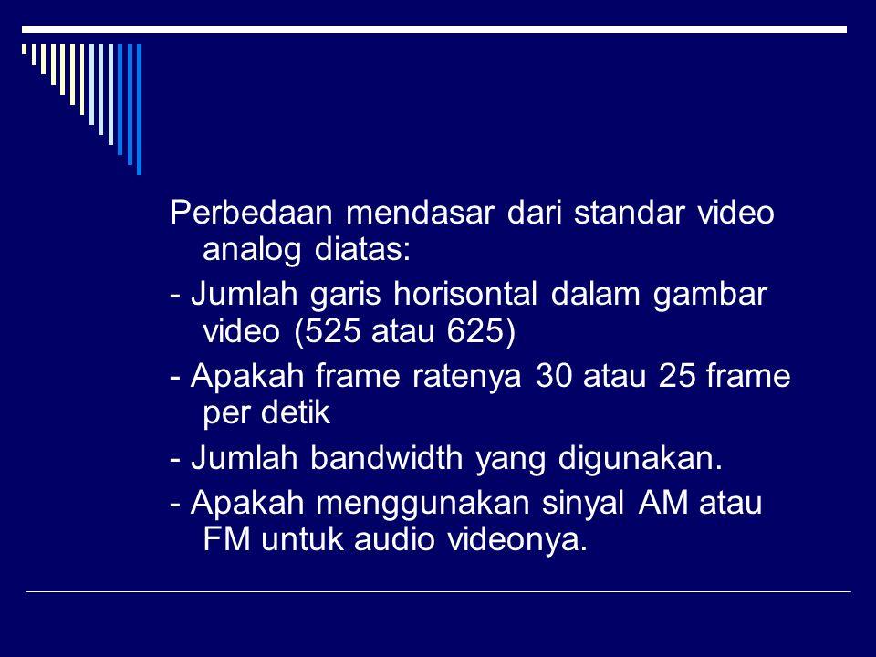Perbedaan mendasar dari standar video analog diatas: - Jumlah garis horisontal dalam gambar video (525 atau 625) - Apakah frame ratenya 30 atau 25 fra
