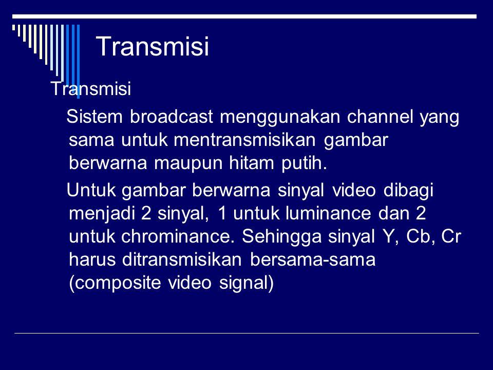 Transmisi Sistem broadcast menggunakan channel yang sama untuk mentransmisikan gambar berwarna maupun hitam putih. Untuk gambar berwarna sinyal video