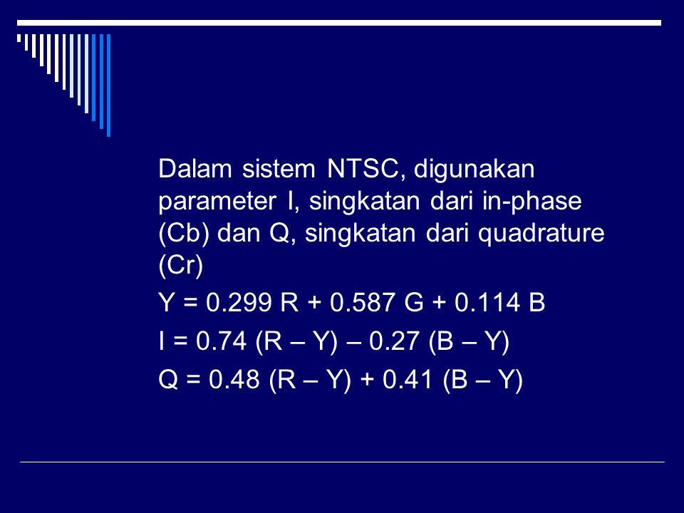 Dalam sistem NTSC, digunakan parameter I, singkatan dari in-phase (Cb) dan Q, singkatan dari quadrature (Cr) Y = 0.299 R + 0.587 G + 0.114 B I = 0.74 (R – Y) – 0.27 (B – Y) Q = 0.48 (R – Y) + 0.41 (B – Y)