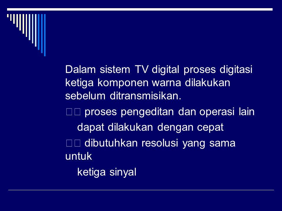 Dalam sistem TV digital proses digitasi ketiga komponen warna dilakukan sebelum ditransmisikan. proses pengeditan dan operasi lain dapat dilakukan den