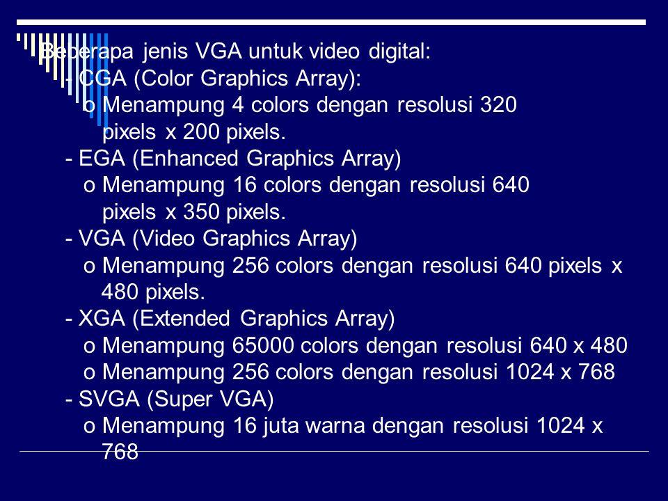 Beberapa jenis VGA untuk video digital: - CGA (Color Graphics Array): o Menampung 4 colors dengan resolusi 320 pixels x 200 pixels. - EGA (Enhanced Gr