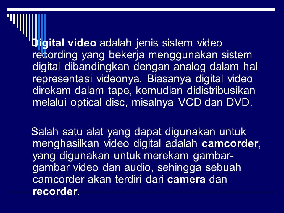 Digital video adalah jenis sistem video recording yang bekerja menggunakan sistem digital dibandingkan dengan analog dalam hal representasi videonya.