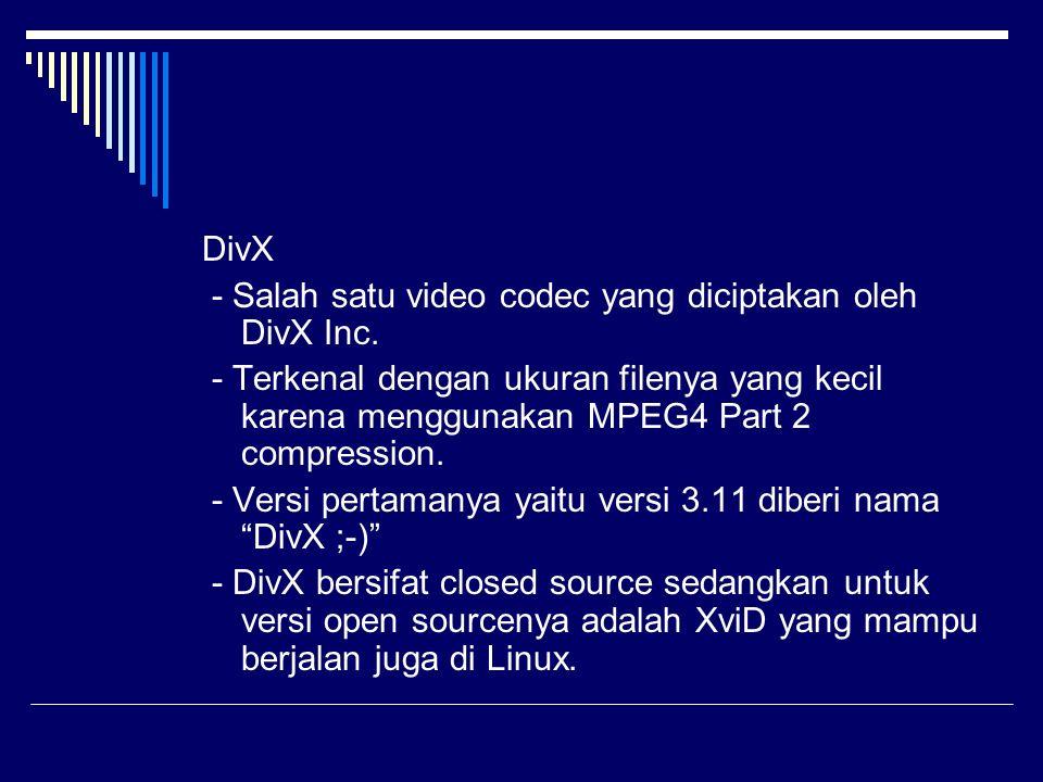 DivX - Salah satu video codec yang diciptakan oleh DivX Inc. - Terkenal dengan ukuran filenya yang kecil karena menggunakan MPEG4 Part 2 compression.