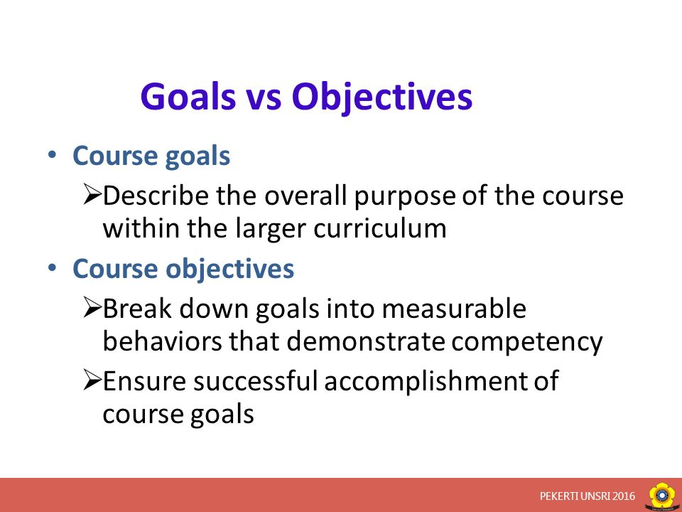 AudienceThe students will be able to Behavior/ Performance (obligatory) What the learner is expected to be able to do, what is the learner doing when demonstrating achievement of the objective Condition (optional) Identifies important condition (if any)of under which his performance is to occur.