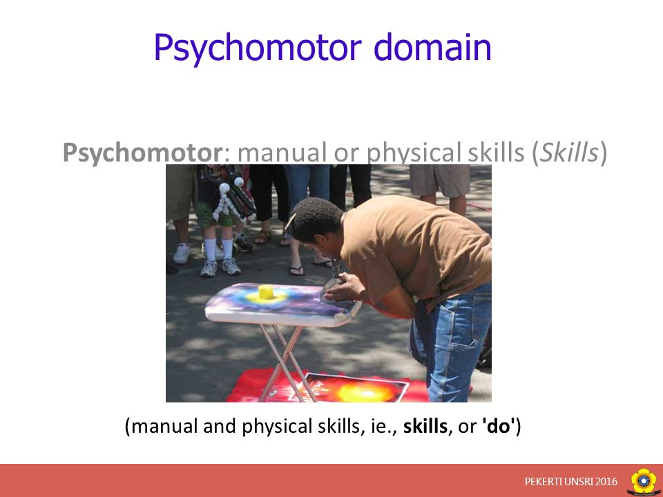 Psychomotor domain Psychomotor: manual or physical skills (Skills) (manual and physical skills, ie., skills, or do ) PEKERTI UNSRI 2016