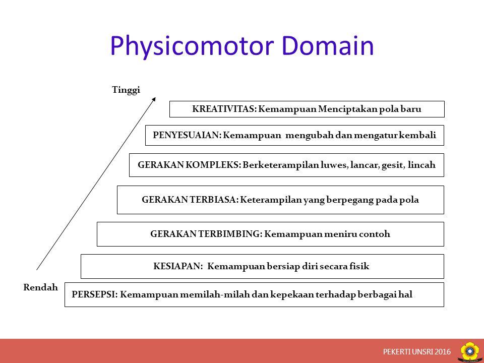 Physicomotor Domain KREATIVITAS: Kemampuan Menciptakan pola baru PENYESUAIAN: Kemampuan mengubah dan mengatur kembali GERAKAN KOMPLEKS: Berketerampilan luwes, lancar, gesit, lincah GERAKAN TERBIASA: Keterampilan yang berpegang pada pola GERAKAN TERBIMBING: Kemampuan meniru contoh KESIAPAN: Kemampuan bersiap diri secara fisik PERSEPSI: Kemampuan memilah-milah dan kepekaan terhadap berbagai hal Rendah Tinggi PEKERTI UNSRI 2016