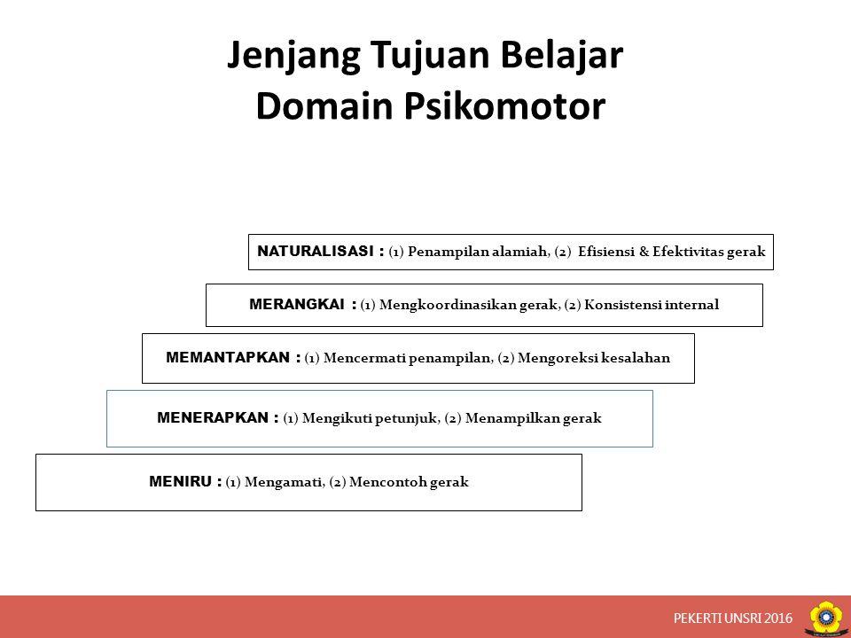 Jenjang Tujuan Belajar Domain Psikomotor NATURALISASI : (1) Penampilan alamiah, (2) Efisiensi & Efektivitas gerak MERANGKAI : (1) Mengkoordinasikan gerak, (2) Konsistensi internal MEMANTAPKAN : (1) Mencermati penampilan, (2) Mengoreksi kesalahan MENERAPKAN : (1) Mengikuti petunjuk, (2) Menampilkan gerak MENIRU : (1) Mengamati, (2) Mencontoh gerak PEKERTI UNSRI 2016